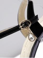 Patent Leather Stereo Flower Platform Sandals