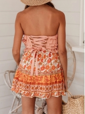 Tiered Ruffle Back Lace Up Strapless Camisole
