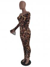 Sexy Leopard Print Off The Shoulder Jumpsuit