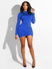 Euro Stand Neck Asymmetrical Solid Bodycon Dress