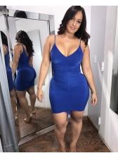 Night Club Pleated V-neck Mini Dresses