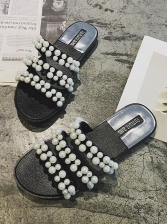 Easy Matching Faux Pearl Slip On Slippers