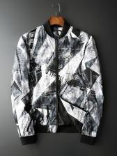 Stand Collar Print Long Sleeve Mens Jackets