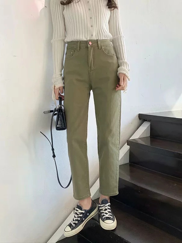 Easy Matching Solid Straight Leg Jeans