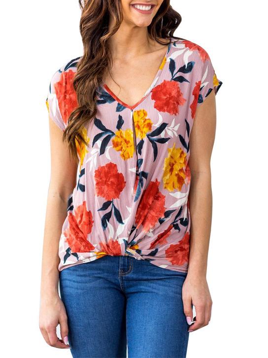 Flower Printing High Low Hem Spring V Neck T Shirt