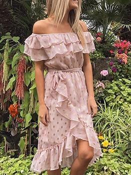 Asymmetric Ruffled Hem Dots Chiffon Ladies Dress