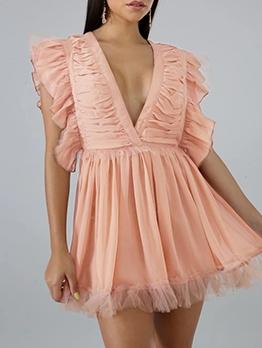 V Neck Ruched Gauze Patchwork Summer Dresses