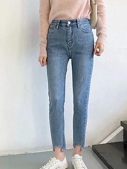 Split Hem Solid Straight Leg Jeans