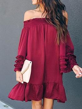 Loose Solid Long Sleeve Off The Shoulder Dress