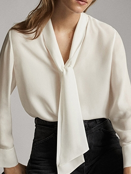 OL Style Long Sleeve White Tie Neck Blouse