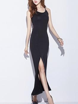 Slim Fit Split Slip Women Summer Maxi Dresses