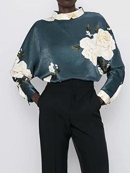 Stand Collar Flower Print Long Sleeve Blouse