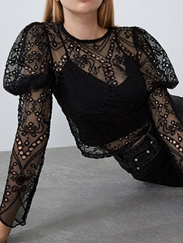 Hollow Out Long Sleeve Black Blouse