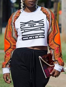 Contrast Color O Neck Ladies Printed Sweatshirt