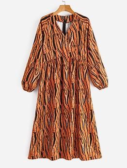 V Neck Animal Print Long Sleeve Maxi Dress