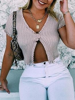 Stringy Selvedge Short Sleeve Knit V Neck T-shirts