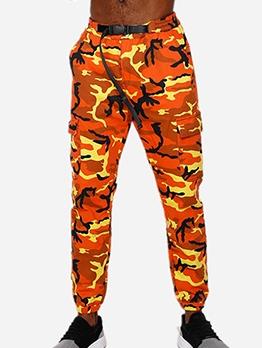 Euro Buckle Design Men Camouflage Pants