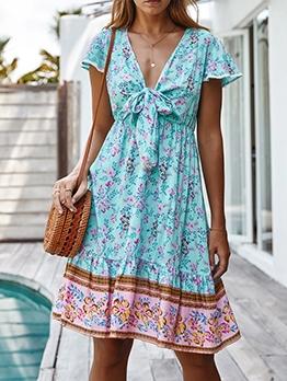 Bohemia Style V Neck Print Short Sleeve Dress