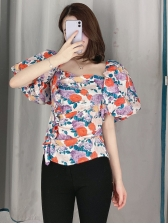 Backless Floral Ruffled Puff Sleeve Blouse