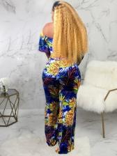 Off The Shoulder Floral Two Piece Pants Set