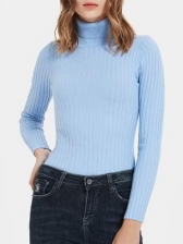 Pure Color Knitting High Neck Bodysuit