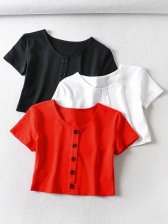 Solid Short Sleeve Cropped T Shirt
