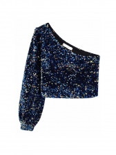 Trendy Inclined Shoulder Long Sleeve Sequin Blouse