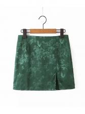 Vintage Embossed Slit Mini Skirt
