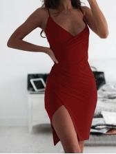 Sexy v Neck Ruched Slip Summer Dresses