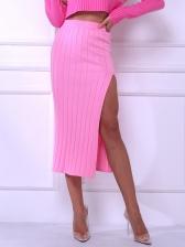Bright Color High Split Knit High Waisted Skirt