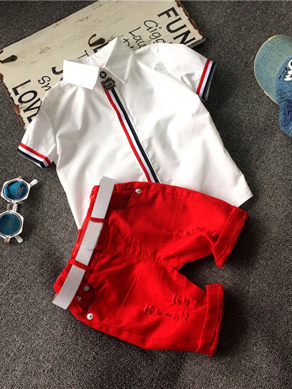 Turndown Neck Shirt With Red Hole Shorts