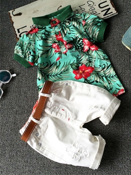 Flower Print Button Up Boys 2 Pieces Set