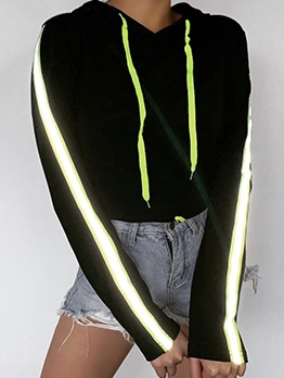 Reflective Light Black Patchwork Cool Hoodies