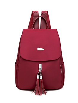Tassel Pendant Solid Color Backpacks For Women