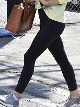 Pure Color Cotton Sport Leggings For Women
