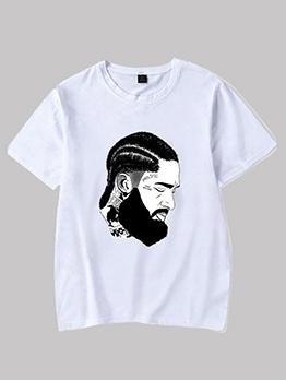 Figure Print Crew Neck White T Shirt