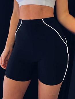 Black Color Line Ladies Sports Short