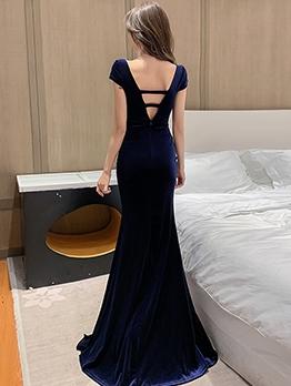 Deep V Neck Split Hem Evening Maxi Dress