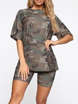 Short Sleeve Camouflage Casual 2 Piece Short Set
