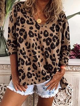 Loose Leopard Printed V Neck T Shirts
