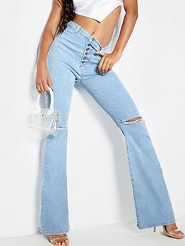 Button Fly High Waist Bell Bottom Jeans