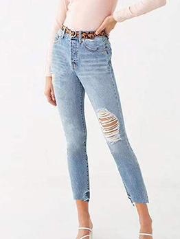 Mid Waist Light Blue Skinny Ripped Jeans