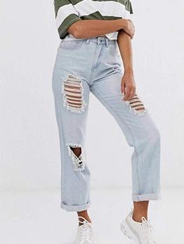 Wild Sexy Knee Hole Loose Straight Leg Jeans