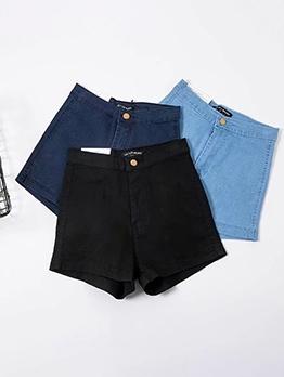 Pure Color Short Ladies Jeans