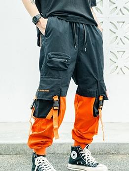 Street Wear Color Block Cargo Pants For Men