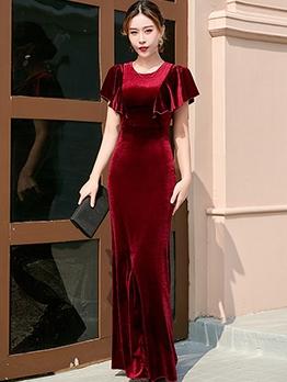 Ruffle Detail Solid Velvet Evening Dress