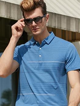 Casual Striped Beach Short Sleeve Polo t Shirts