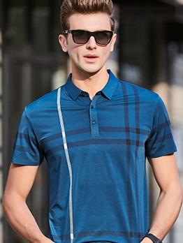 Simple Turn-Down Collar Striped Polo Shirt