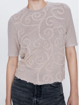 Chic Design Short Sleeve Crew Neck T-shirt