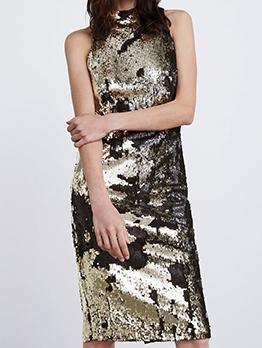 Sequin Mock Neck Sleeveless Dress